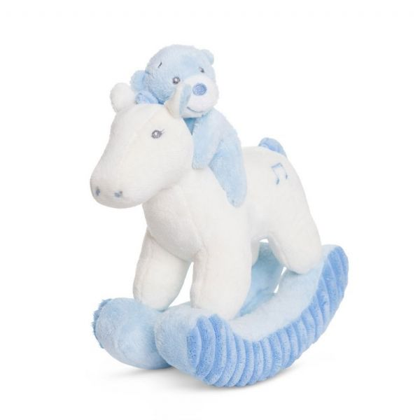 Bonnie,  Musical bear on rocking horse, blue.  Aurora 60500
